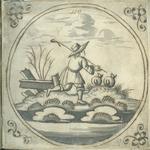 1976-3195-67 Tegelvoorbeeld met tekeningen uit het modellenboekje voor tegels: hardlopende herder; in cirkel. ...