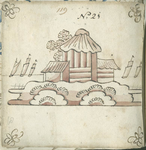 1976-3195-68 Tegelvoorbeeld met tekeningen uit het modellenboekje voor tegels: hut aan water op achtergrond met vijf ...