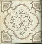 1976-3195-70 Tegelvoorbeeld met tekeningen uit het modellenboekje voor tegels: gestileerde bloemen in rand (vierkant ...