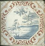 1976-3195-73 Tegelvoorbeeld met tekeningen uit het modellenboekje voor tegels: ruiter en hond. De voorstelling is ...