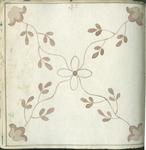 1976-3195-74 Tegelvoorbeeld met tekeningen uit het modellenboekje voor tegels: bloem en bladmotieven. Centraal decor ...