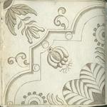 1976-3195-76 Tegelvoorbeeld met tekeningen uit het modellenboekje voor tegels: bloem- en bladmotieven; hoektegel.