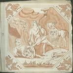 1976-3195-77 Tegelvoorbeeld met tekeningen uit het modellenboekje voor tegels: Daniël in de leeuwenkuil. In achtkant; ...