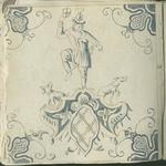 1976-3195-78 Tegelvoorbeeld met tekeningen uit het modellenboekje voor tegels: kunstenmaker op geornamenteerd voetstuk ...