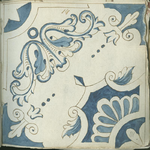 1976-3195-81 Tegelvoorbeeld met tekeningen uit het modellenboekje voor tegels: bladmotieven; hoektegel.