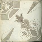 1976-3195-82 Tegelvoorbeeld met tekeningen uit het modellenboekje voor tegels: geometrische bloem- en bladmotieven. Puntster.