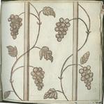 1976-3195-83 Tegelvoorbeeld met tekeningen uit het modellenboekje voor tegels: druikranken.