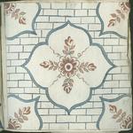 1976-3195-87 Tegelvoorbeeld met tekeningen uit het modellenboekje voor tegels: muurbloem; bloem in accoladenvierkant. ...