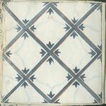 1976-3195-88 Tegelvoorbeeld met tekeningen uit het modellenboekje voor tegels: diagonaal kruis en vierkant met in de ...