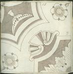 1976-3195-91 Tegelvoorbeeld met tekeningen uit het modellenboekje voor tegels: geometrische, bloem- en bladmotieven. ...
