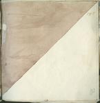 1976-3195-93 Tegelvoorbeeld met tekeningen uit het modellenboekje voor tegels: twee driehoekige vlakken (wezen).