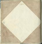1976-3195-94 Tegelvoorbeeld met tekeningen uit het modellenboekje voor tegels: vierkant; gepenseelde ruit.