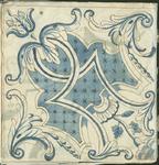 1976-3195-96 Tegelvoorbeeld met tekeningen uit het modellenboekje voor tegels: geometrische bloem- en bladmotieven. ...