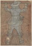 1976-3227 Tegelvoorbeeld met een voorstelling van een man met hoed en degen, op de rug gezien, stok horizontaal voor ...