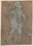 1976-3228 Tegelvoorbeeld met een voorstelling van een man met een hoed, een geweer voor zich houdend, van achteren gezien