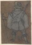 1976-3229 Tegelvoorbeeld met een voorstelling van een man op de rug gezien, een geweer voor zich houdend, statief in de ...
