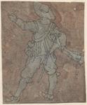 1976-3230 Tegelvoorbeeld met een voorstelling van een man op de rug gezien, geweer voor zich houdend.