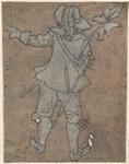 1976-3231 Tegelvoorbeeld met een voorstelling van een man met een gepluimde hoed, op de rug gezien, naar links wijzend.