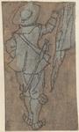1976-3232 Tegelvoorbeeld met een voorstelling van een man op de rug gezien, een vlag in de rechter hand