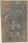 1976-3233 Tegelvoorbeeld met een voorstelling van een man frontaal gezien, geweer in de linker, statief in de rechter hand