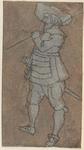 1976-3234 Tegelvoorbeeld met een voorstelling van een man, kijkend naar links, een stok in de rechter hand over de ...