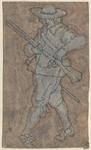 1976-3235 Tegelvoorbeeld met een voorstelling van een man naar links lopend, geweer voor zich.