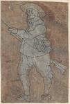 1976-3236 Tegelvoorbeeld met een voorstelling van een man kijkend naar links, het geweer rechts van hem
