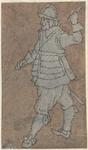 1976-3237 Tegelvoorbeeld met een voorstelling van een man kijkend naar links, met held, de linker hand opgeheven