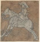 1976-3238 Tegelvoorbeeld met een voorstelling van een ruiter naar links op een springend [?] paard.
