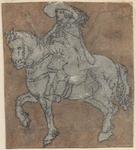 1976-3240 Tegelvoorbeeld met een voorstelling van een ruiter naar links op een stapvoets gaand paard.