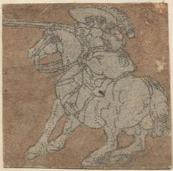 1976-3241 Tegelvoorbeeld met een voorstelling van een ruite naar links, schietend met een geweer vanaf een het paard