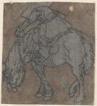 1976-3242 Tegelvoorbeeld met een voorstelling van een ruiter naar links op een grazend paard
