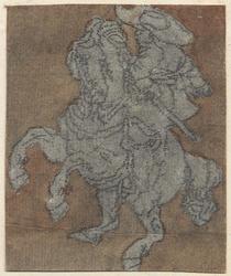 1976-3243 Tegelvoorbeeld met een voorstelling van een ruiter naar links op een steigerend paard.