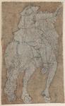 1976-3244 Tegelvoorbeeld met een voorstelling van een ruiter op de rug gezien, zwaard omhoog in de rechter hand.