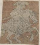 1976-3246 Tegelvoorbeeld met een voorstelling van een ruiter naar rechts, met steigerend paard.