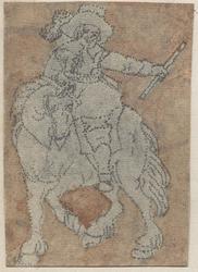 1976-3247 Tegelvoorbeeld met een voorstelling van een ruiter naar links, staf in de linker hand, man en paard naar ...