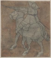 1976-3248 Tegelvoorbeeld met een voorstelling van een ruiter op de rug gezien, geweer in de linker hand, paard naar links.
