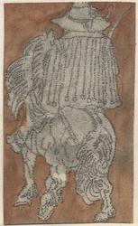 1976-3249 Tegelvoorbeeld met een voorstelling van een ruiter op de rug gezien.