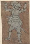 1976-3251 Tegelvoorbeeld met een voorstelling van een man van voren gezien, roede horizontaal omhoog houdend.