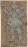 1976-3252 Tegelvoorbeeld met een voorstelling van een man naar links kijkend, speer in de rechter hand.
