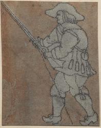 1976-3253 Tegelvoorbeeld met een voorstelling van een man naar links kijkend, een musket omhoog gericht.