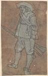 1976-3254 Tegelvoorbeeld met een voorstelling van een man schuin naar links kijkend, geweer in de rechter hand.