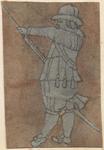 1976-3255 Tegelvoorbeeld met een voorstelling van een man naar links kijkend, geweer ladend of poetsend.