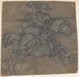 1976-3256 Tegelvoorbeeld met een voorstelling van een ridder naar rechts met gevelde speer op een springend paard.