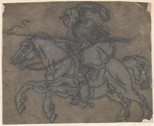 1976-3257 Tegelvoorbeeld met een voorstelling van een ridder naar links, met een gevelde speer op een rennend paard.