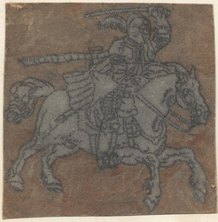 1976-3258 Tegelvoorbeeld met een voorstelling van een ridder naar rechts, met zwaard boven het hoofd zwaaiend.