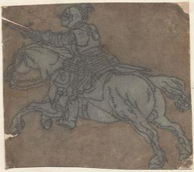1976-3259 Tegelvoorbeeld met een voorstelling van een rider naar links, met zwaard naar voren stekend op springend paard.