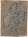1976-3260 Tegelvoorbeeld met een voorstelling van een ruiter met grote hoed op stapvoets gaand paard.