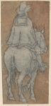 1976-3261 Tegelvoorbeeld met een voorstelling van een ruiter op de rug gezien op op (vrijwel) stilstaand paard.