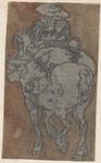 1976-3262 Tegelvoorbeeld met een voorstelling van een ruiter op de rug gezien op bepakt paard.